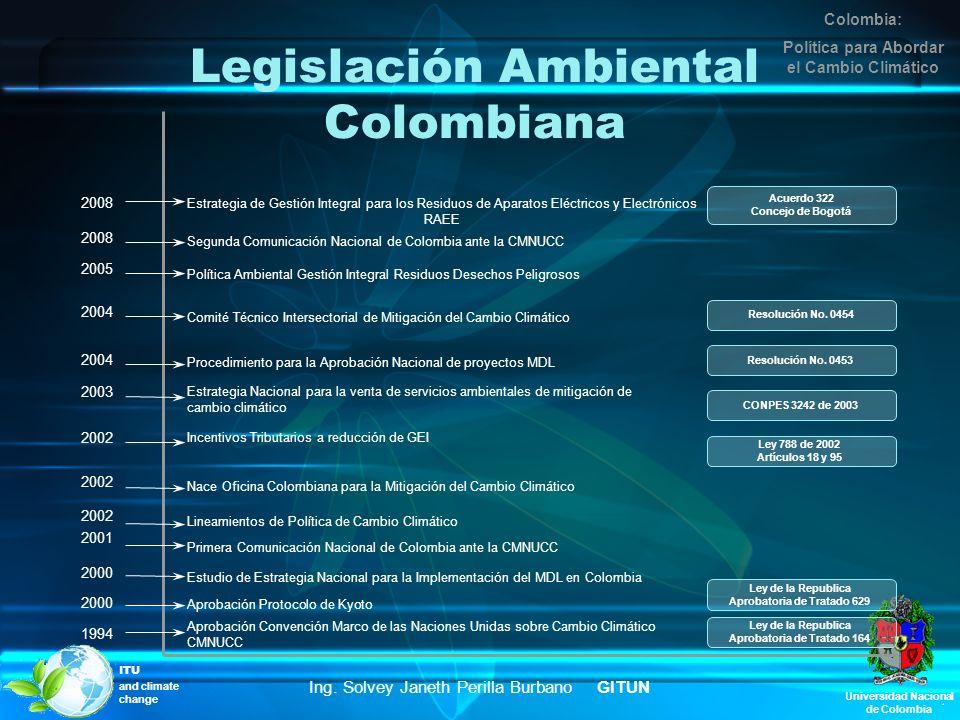 Universidad Nacional de Colombia Legislación Ambiental Colombiana Aprobación Convención Marco de las Naciones Unidas sobre Cambio Climático CMNUCC 199