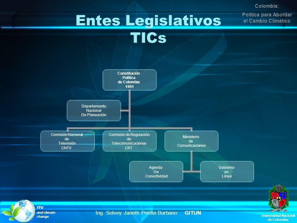 Entes Legislativos TICs Constitución Política de Colombia 1991 Comisión Nacional de Televisión CNTV Comisión de Regulación de Telecomunicaciones CRT M