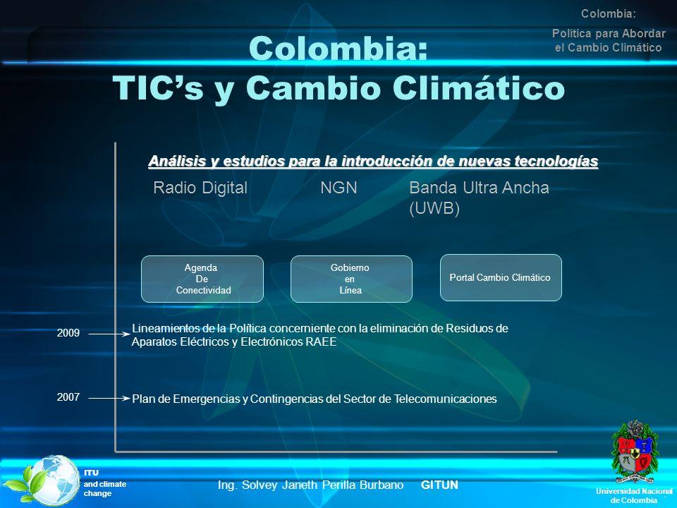 Colombia: TICs y Cambio Climático Universidad Nacional de Colombia Ing. Solvey Janeth Perilla Burbano GITUN ITU and climate change Colombia: Política