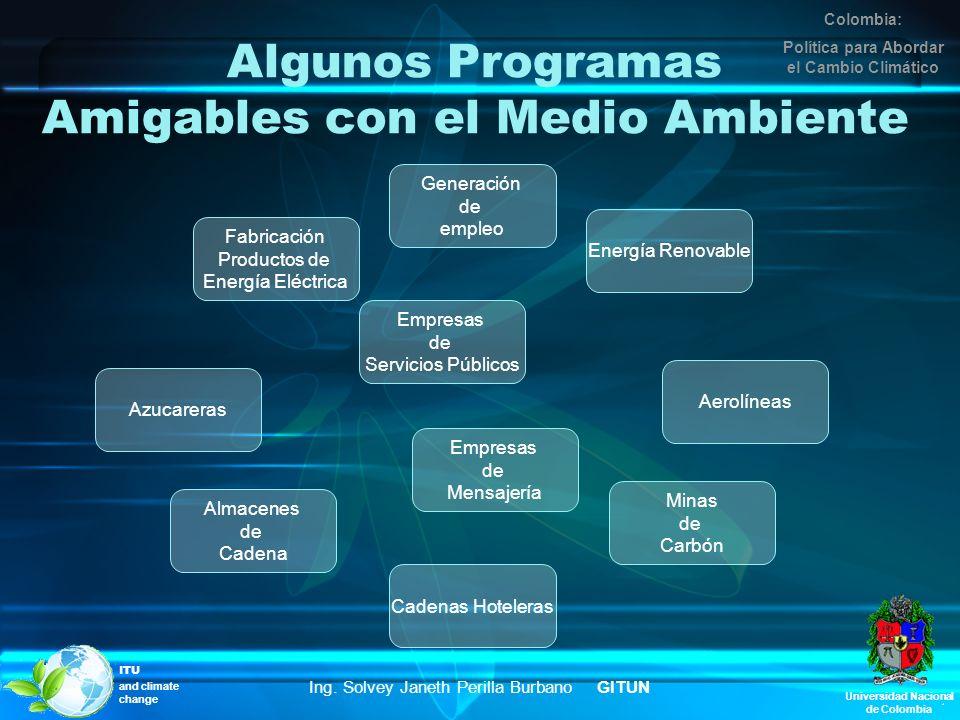 Algunos Programas Amigables con el Medio Ambiente Universidad Nacional de Colombia Colombia: Política para Abordar el Cambio Climático Ing. Solvey Jan