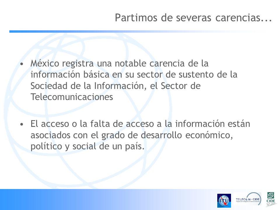Partimos de severas carencias... México registra una notable carencia de la información básica en su sector de sustento de la Sociedad de la Informaci