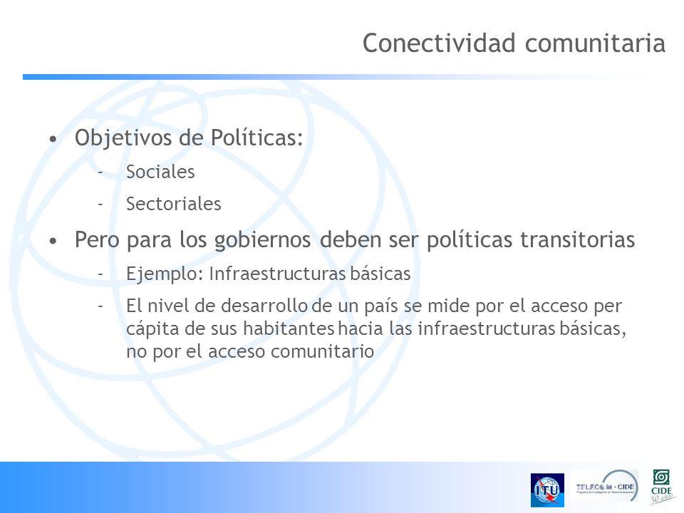 Conectividad comunitaria Objetivos de Políticas: -Sociales -Sectoriales Pero para los gobiernos deben ser políticas transitorias -Ejemplo: Infraestructuras básicas -El nivel de desarrollo de un país se mide por el acceso per cápita de sus habitantes hacia las infraestructuras básicas, no por el acceso comunitario
