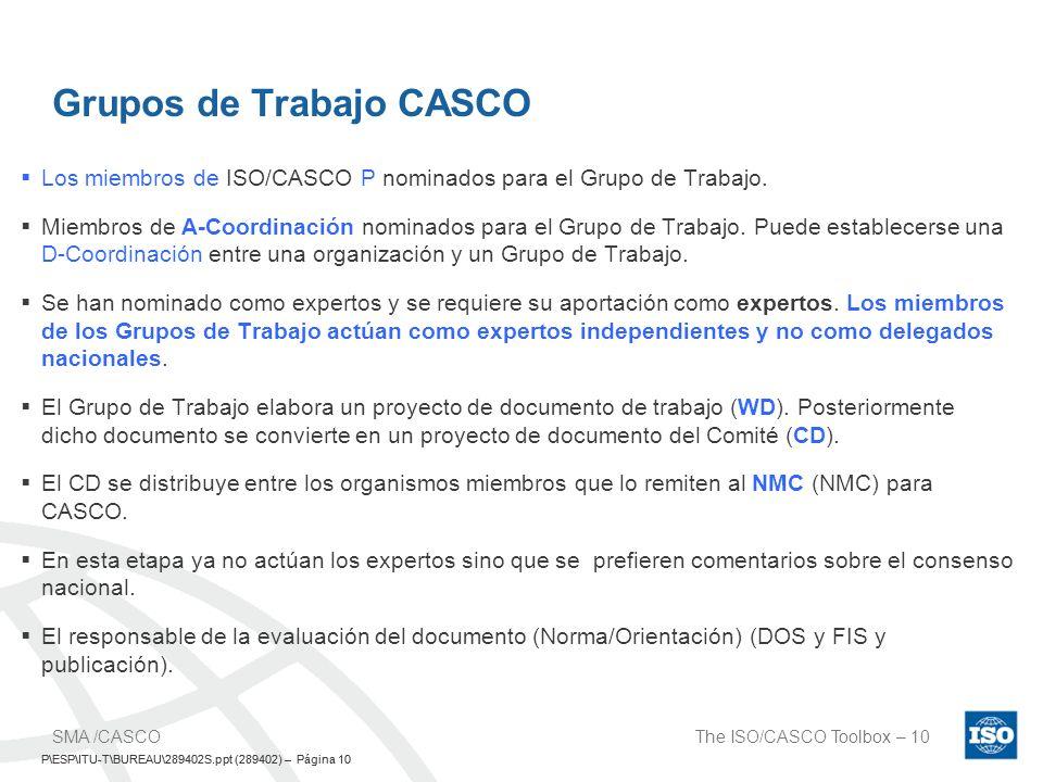 P\ESP\ITU-T\BUREAU\289402S.ppt (289402) – Página 10 The ISO/CASCO Toolbox – 10SMA /CASCO P\ESP\ITU-T\BUREAU\289402S.ppt (289402) – Página 10 Grupos de