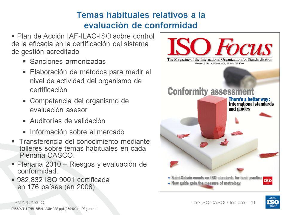 P\ESP\ITU-T\BUREAU\289402S.ppt (289402) – Página 11 The ISO/CASCO Toolbox – 11SMA /CASCO P\ESP\ITU-T\BUREAU\289402S.ppt (289402) – Página 11 Temas hab