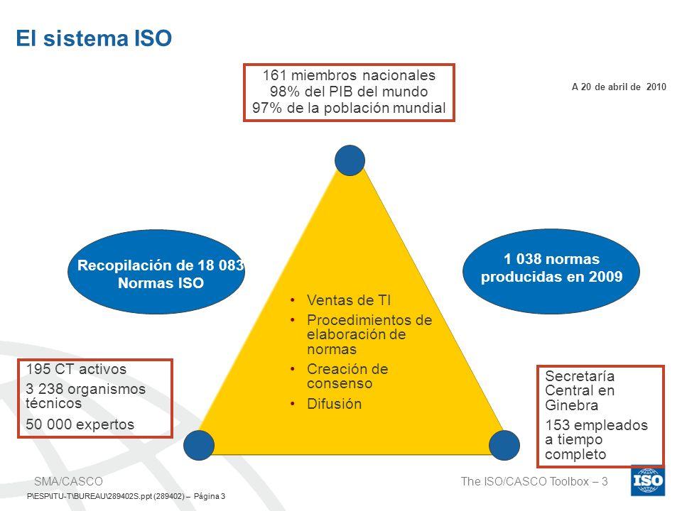 P\ESP\ITU-T\BUREAU\289402S.ppt (289402) – Página 4 The ISO/CASCO Toolbox – 4SMA /CASCO P\ESP\ITU-T\BUREAU\289402S.ppt (289402) – Página 4 ISO y evaluación de conformidad La no aceptación de los informes y certificados de prueba es uno de los principales obstáculos para el comercio El reconocimiento y la aceptación internacional deben basarse en la confianza y en las prácticas idóneas El camino a seguir: implementación de las normas y directrices de la ISO/CEI, con un doble nivel de consenso, entre los países y entre los interesados