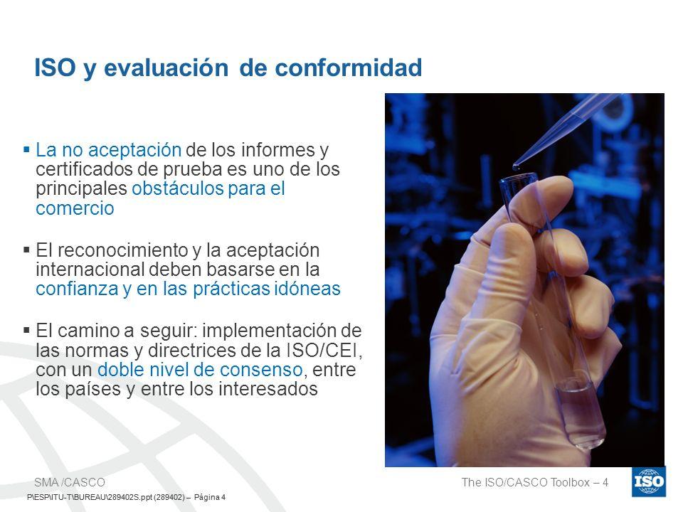 P\ESP\ITU-T\BUREAU\289402S.ppt (289402) – Página 5 The ISO/CASCO Toolbox – 5SMA /CASCO P\ESP\ITU-T\BUREAU\289402S.ppt (289402) – Página 5 Aceptada por todos 1 Prueba 1 Evaluación de conformidad 1 Norma El sueño 1-1-1 de evaluación de conformidad