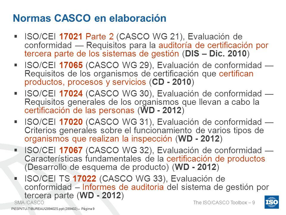 P\ESP\ITU-T\BUREAU\289402S.ppt (289402) – Página 10 The ISO/CASCO Toolbox – 10SMA /CASCO P\ESP\ITU-T\BUREAU\289402S.ppt (289402) – Página 10 Grupos de Trabajo CASCO Los miembros de ISO/CASCO P nominados para el Grupo de Trabajo.