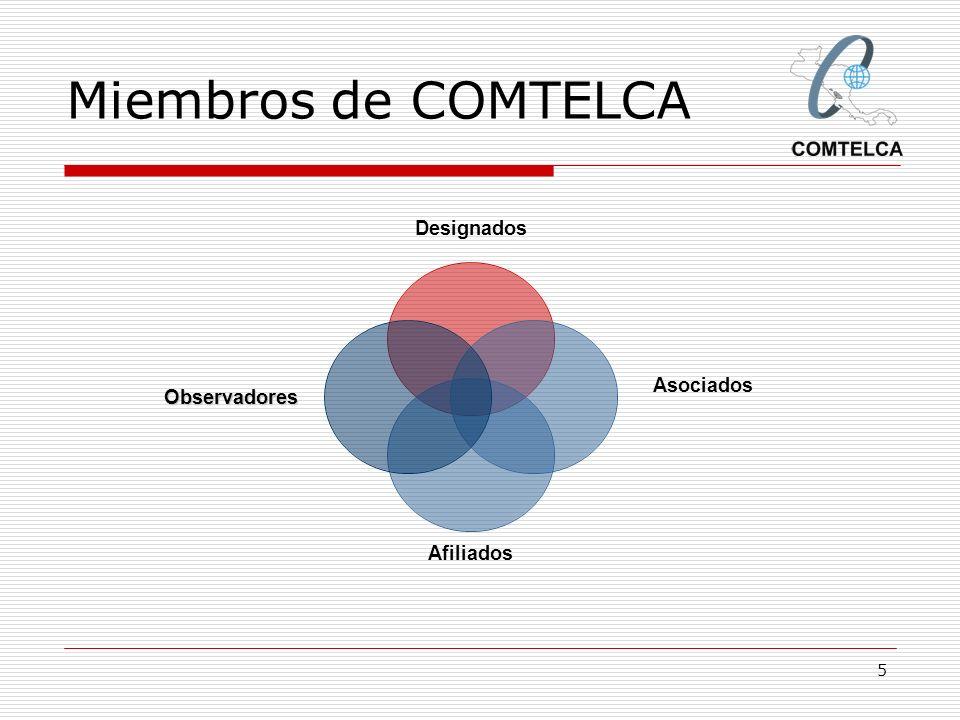 6 Miembros DESIGNADOSASOCIADOS GUATEMALASITGUATEL EL SALVADORSIGET HONDURASCONATELHONDUTEL NICARAGUATELCOR COSTA RICAMINAETICE SUTEL PANAMAASEP REPUBLICA DOMINICANAINDOTEL