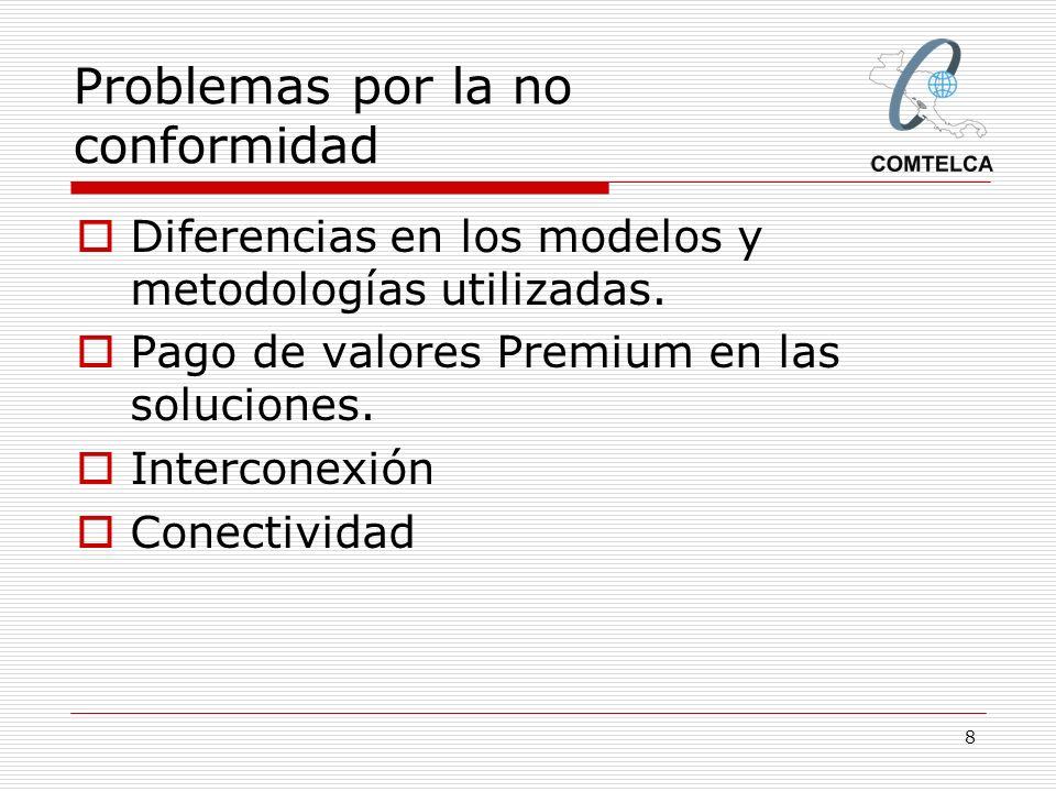 8 Problemas por la no conformidad Diferencias en los modelos y metodologías utilizadas. Pago de valores Premium en las soluciones. Interconexión Conec