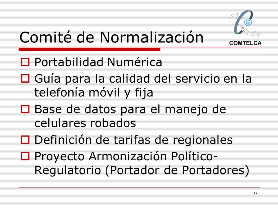 9 Comité de Normalización Portabilidad Numérica Guía para la calidad del servicio en la telefonía móvil y fija Base de datos para el manejo de celular