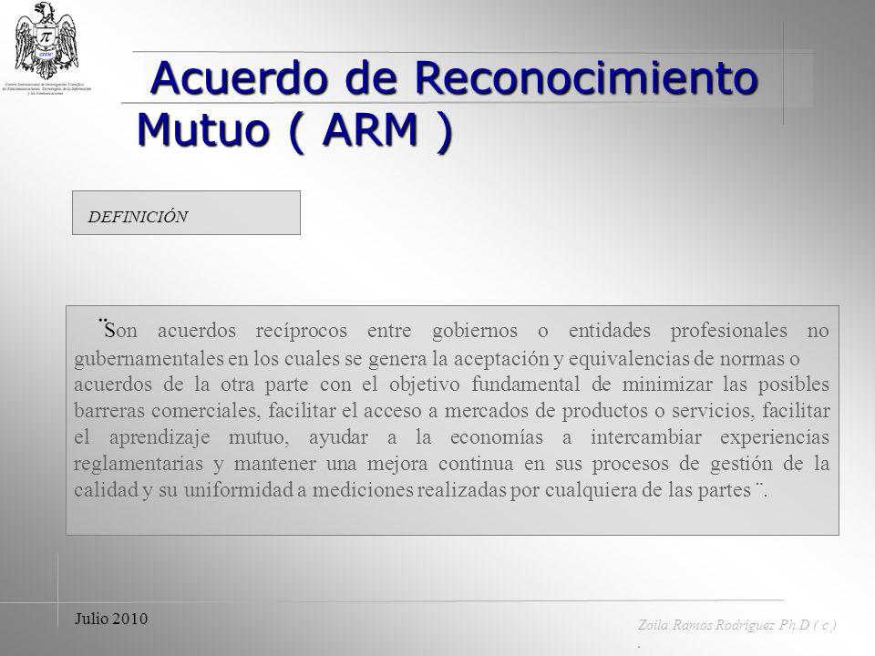 Julio 2010 Zoila Ramos Rodríguez © Ph.D. Impacto del Acuerdo de Reconocimiento Mutuo de las Américas Zoila Ramos Rodríguez Ph.D. ( c ) en Ingeniería d