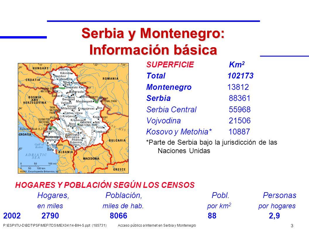 Acceso público a Internet en Serbia y Montenegro 4 P:\ESP\ITU-D\BDT\PSF\MEF\TDS\MEX04\14-BIH-S.ppt (185731) Población urbana y rural en SMN % Urbana % Rural 199151,2 48,8 200256,8 43,2