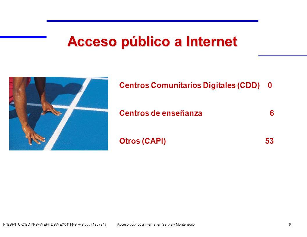 Acceso público a Internet en Serbia y Montenegro 9 P:\ESP\ITU-D\BDT\PSF\MEF\TDS\MEX04\14-BIH-S.ppt (185731) CAPI en SMN Centros de acceso público a Internet Fuente: Investigaciones de los autores Cibercafés Urbanos> 500.000Belgrado (14) 50.000> 499.999Novi Sad (8), Subotica (5), Nis (4), Smederevo (3), Pancevo (3), Kragujevac (2), Cacak (2), Zrenjanin (1), Sabac (1) Total 29 10.000 > 49.999Vrsac (1), Loznica (1), V.
