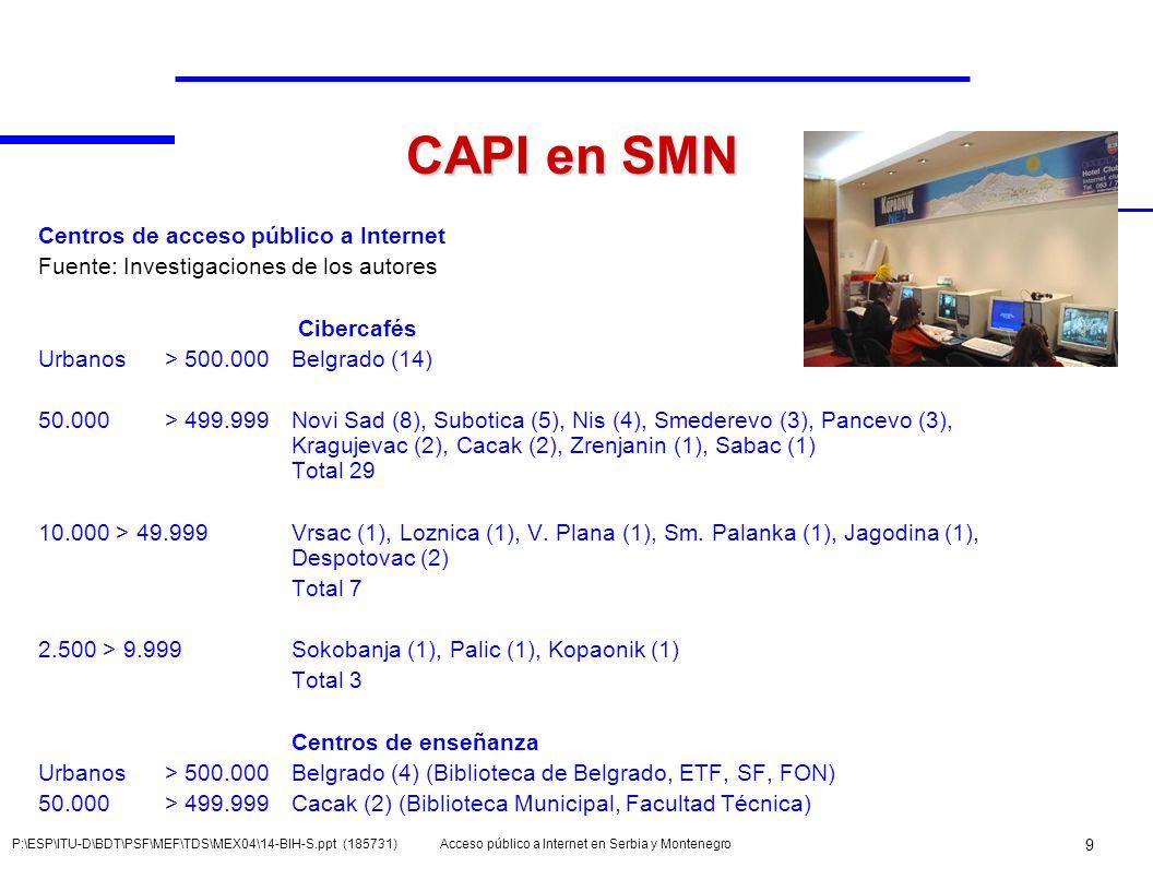 Acceso público a Internet en Serbia y Montenegro 9 P:\ESP\ITU-D\BDT\PSF\MEF\TDS\MEX04\14-BIH-S.ppt (185731) CAPI en SMN Centros de acceso público a In