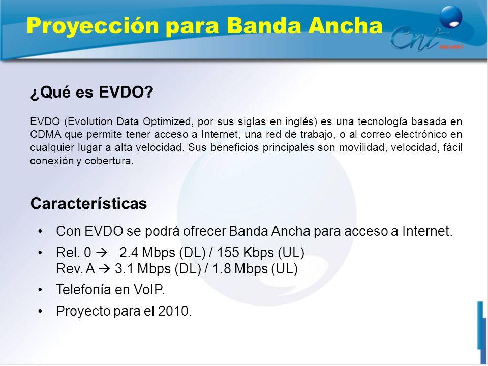 Proyección para Banda Ancha Con EVDO se podrá ofrecer Banda Ancha para acceso a Internet. Rel. 0 2.4 Mbps (DL) / 155 Kbps (UL) Rev. A 3.1 Mbps (DL) /