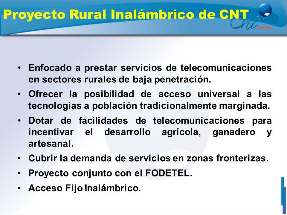 Proyecto Rural Inalámbrico de CNT Enfocado a prestar servicios de telecomunicaciones en sectores rurales de baja penetración. Ofrecer la posibilidad d