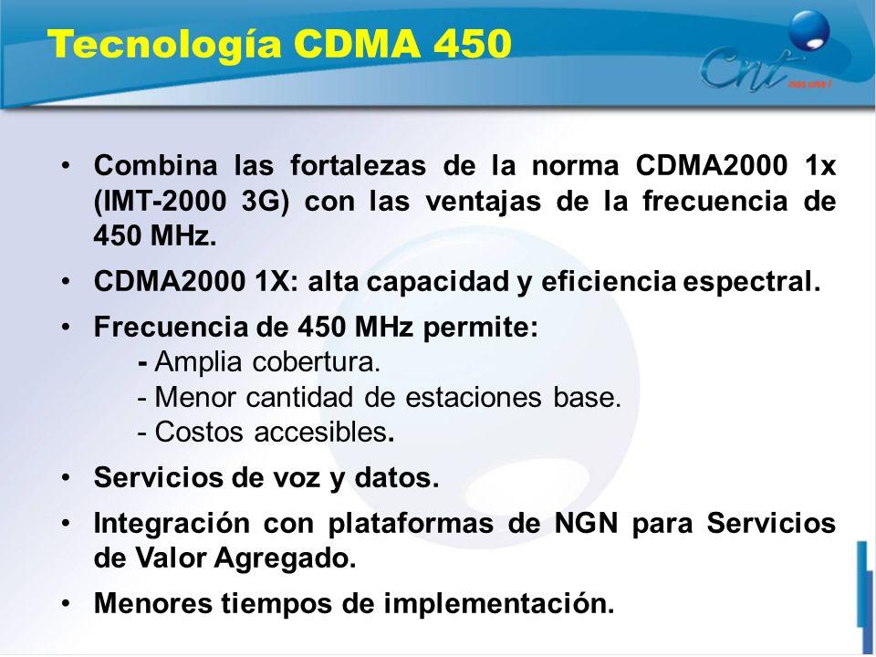 Tecnología CDMA 450 Combina las fortalezas de la norma CDMA2000 1x (IMT-2000 3G) con las ventajas de la frecuencia de 450 MHz. CDMA2000 1X: alta capac