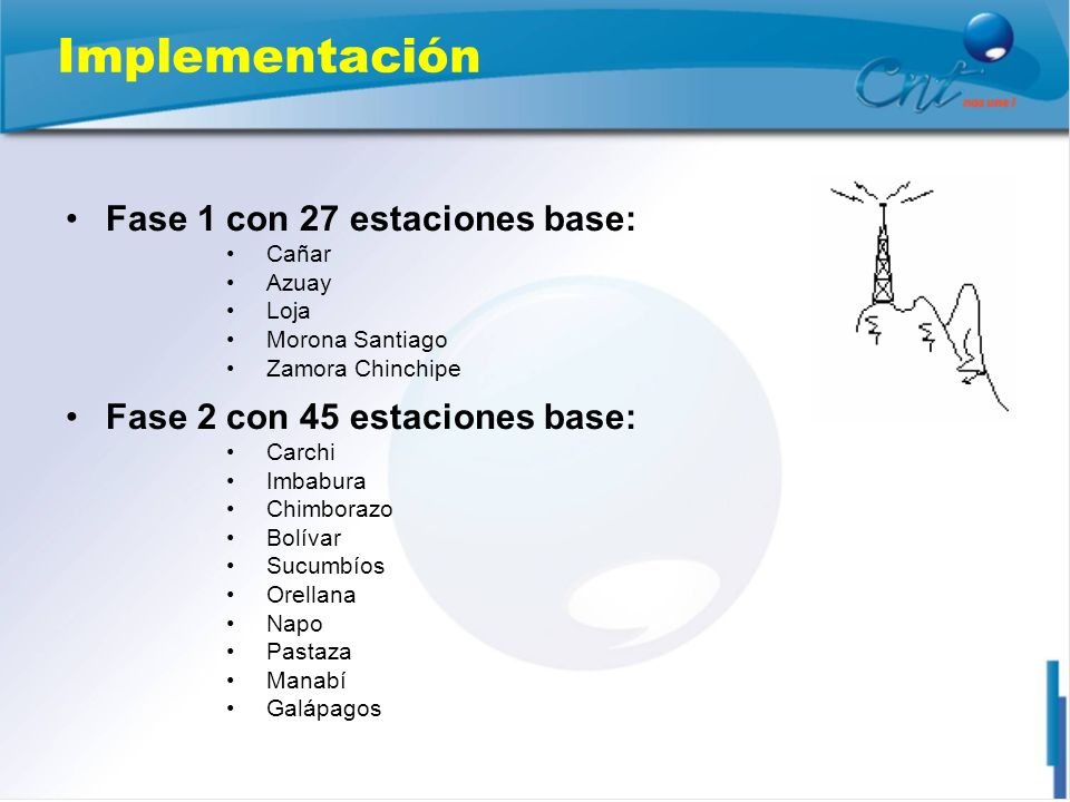 Implementación Fase 1 con 27 estaciones base: Cañar Azuay Loja Morona Santiago Zamora Chinchipe Fase 2 con 45 estaciones base: Carchi Imbabura Chimbor