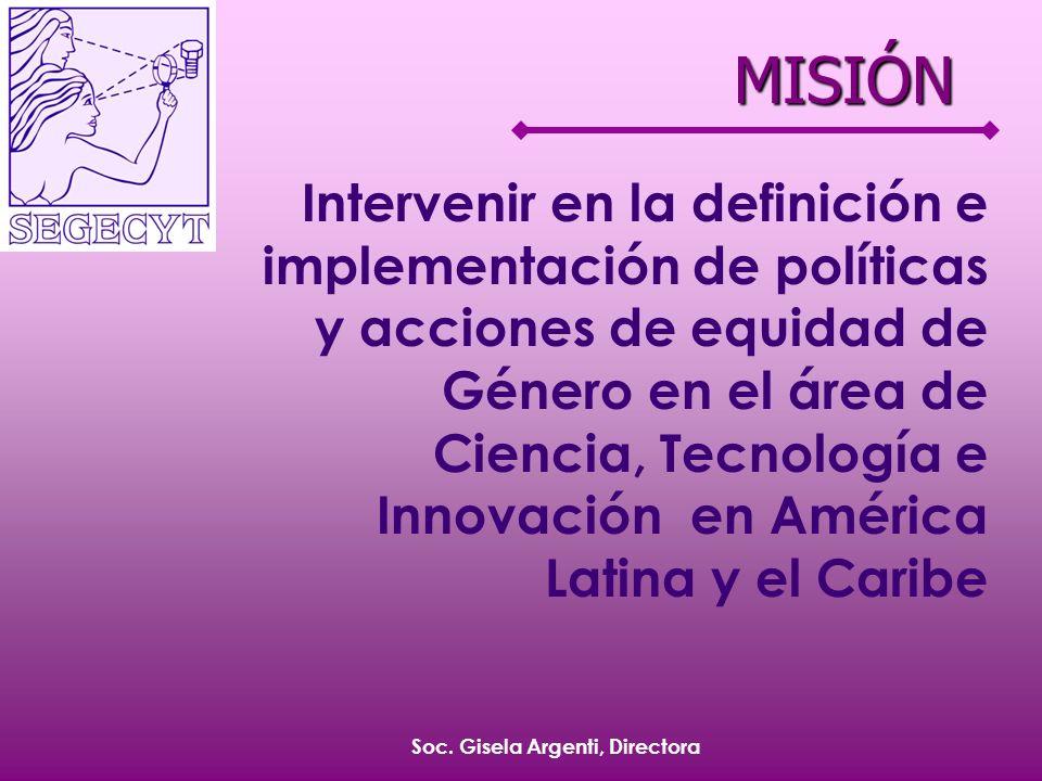 Soc. Gisela Argenti, Directora Intervenir en la definición e implementación de políticas y acciones de equidad de Género en el área de Ciencia, Tecnol