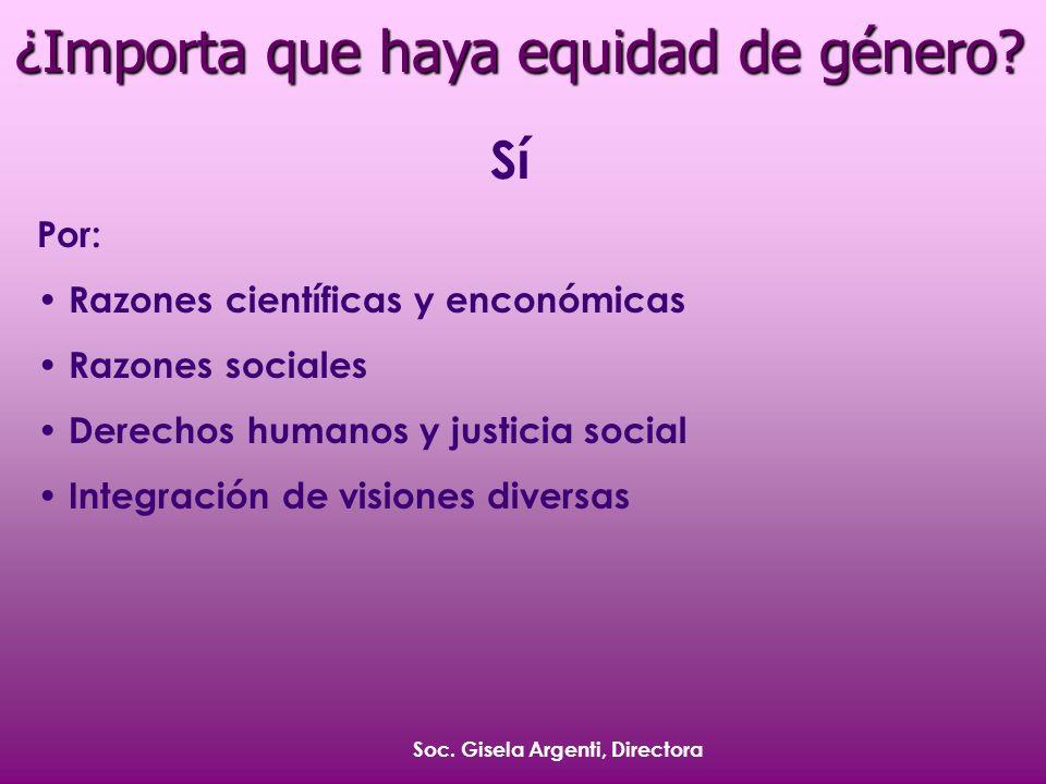 Soc. Gisela Argenti, Directora ¿Importa que haya equidad de género.