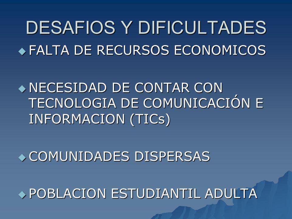 DESAFIOS Y DIFICULTADES FALTA DE RECURSOS ECONOMICOS FALTA DE RECURSOS ECONOMICOS NECESIDAD DE CONTAR CON TECNOLOGIA DE COMUNICACIÓN E INFORMACION (TI