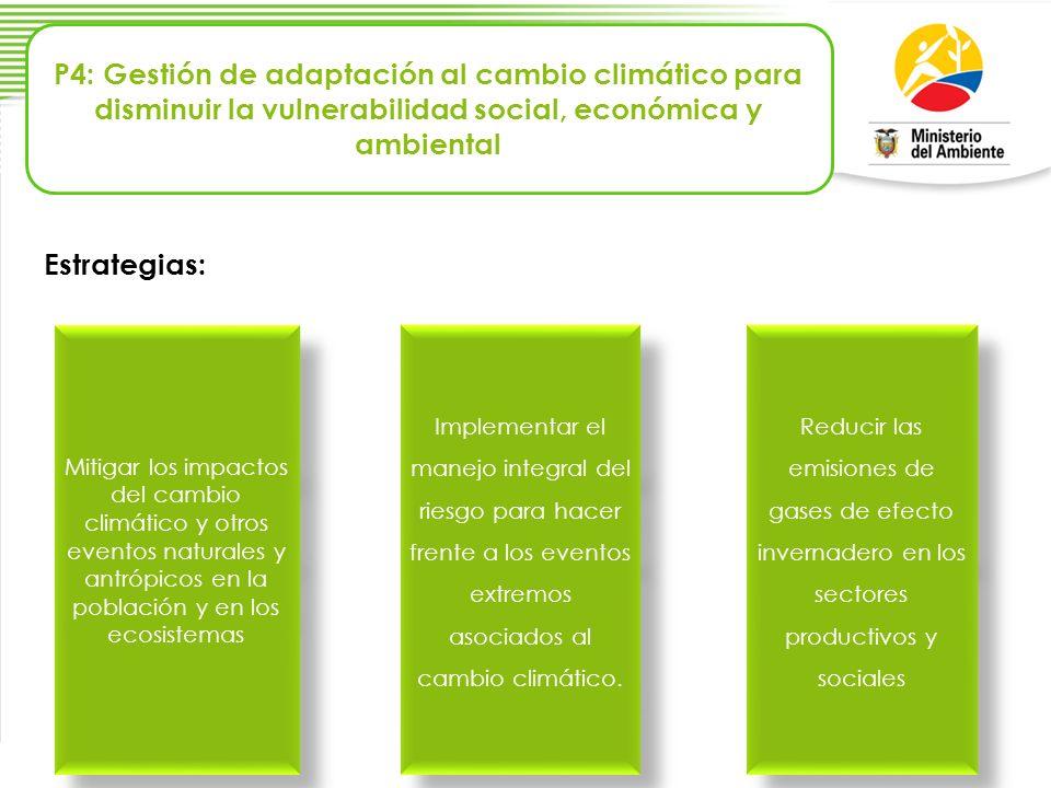 Mitigar los impactos del cambio climático y otros eventos naturales y antrópicos en la población y en los ecosistemas Implementar el manejo integral d