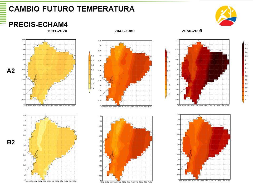 1991-20202041-20602080-2099 A2 B2 CAMBIO FUTURO TEMPERATURA PRECIS-ECHAM4