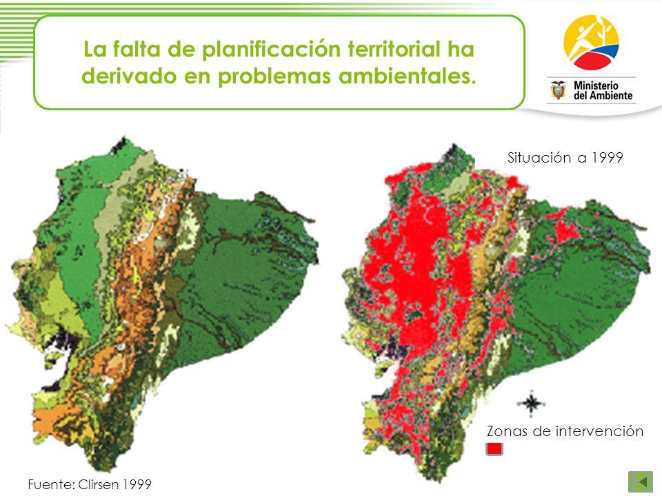 La falta de planificación territorial ha derivado en problemas ambientales. Fuente: Clirsen 1999 Situación a 1999 Zonas de intervención