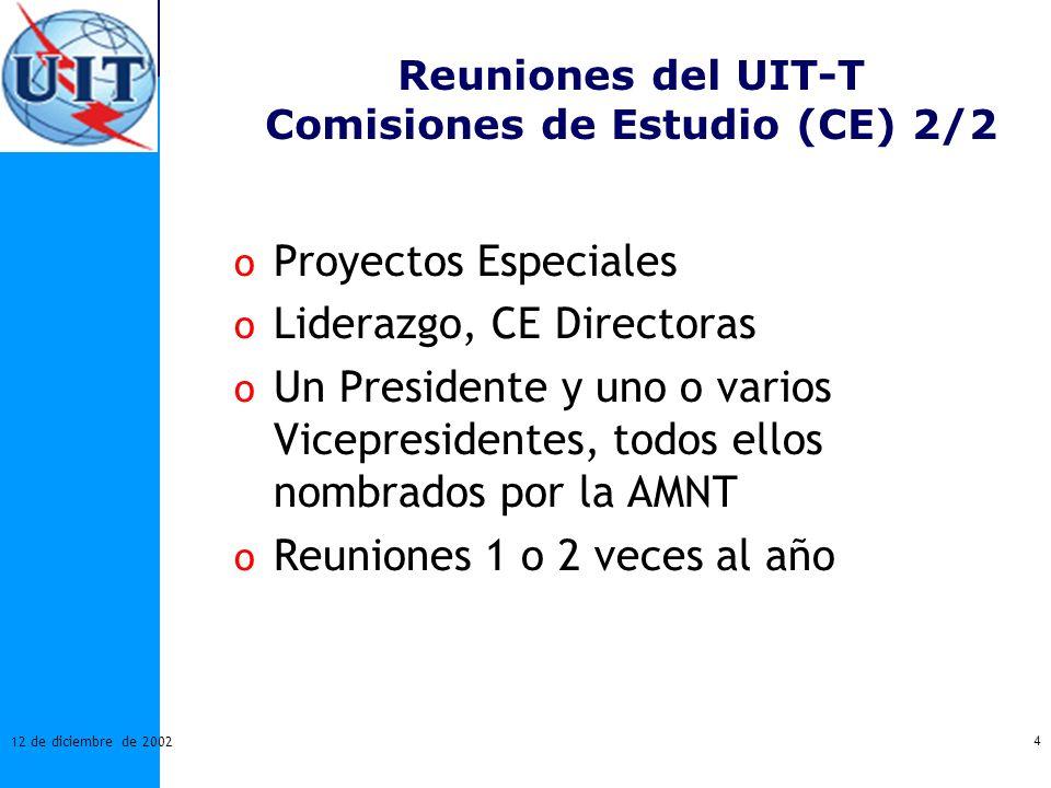 4 12 de diciembre de 2002 Reuniones del UIT-T Comisiones de Estudio (CE) 2/2 o Proyectos Especiales o Liderazgo, CE Directoras o Un Presidente y uno o