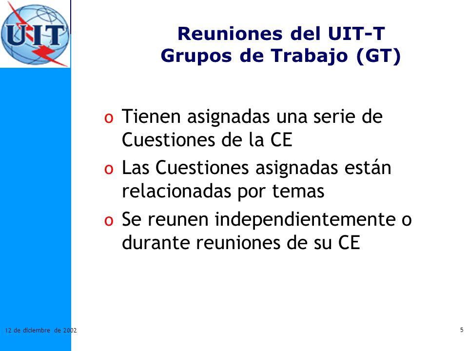 5 12 de diciembre de 2002 Reuniones del UIT-T Grupos de Trabajo (GT) o Tienen asignadas una serie de Cuestiones de la CE o Las Cuestiones asignadas es