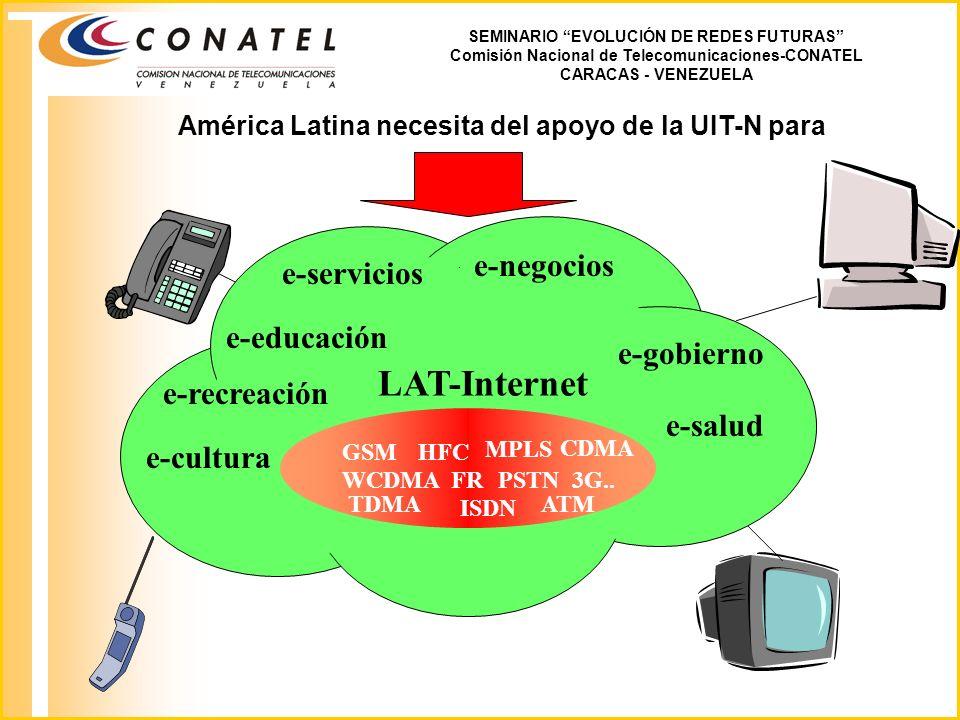 SEMINARIO EVOLUCIÓN DE REDES FUTURAS Comisión Nacional de Telecomunicaciones-CONATEL CARACAS - VENEZUELA LAT-Internet América Latina necesita del apoyo de la UIT-N para e-servicios e-gobierno e-negocios e-educación e-salud e-recreación e-cultura MPLS HFC PSTN ISDN CDMA 3G..