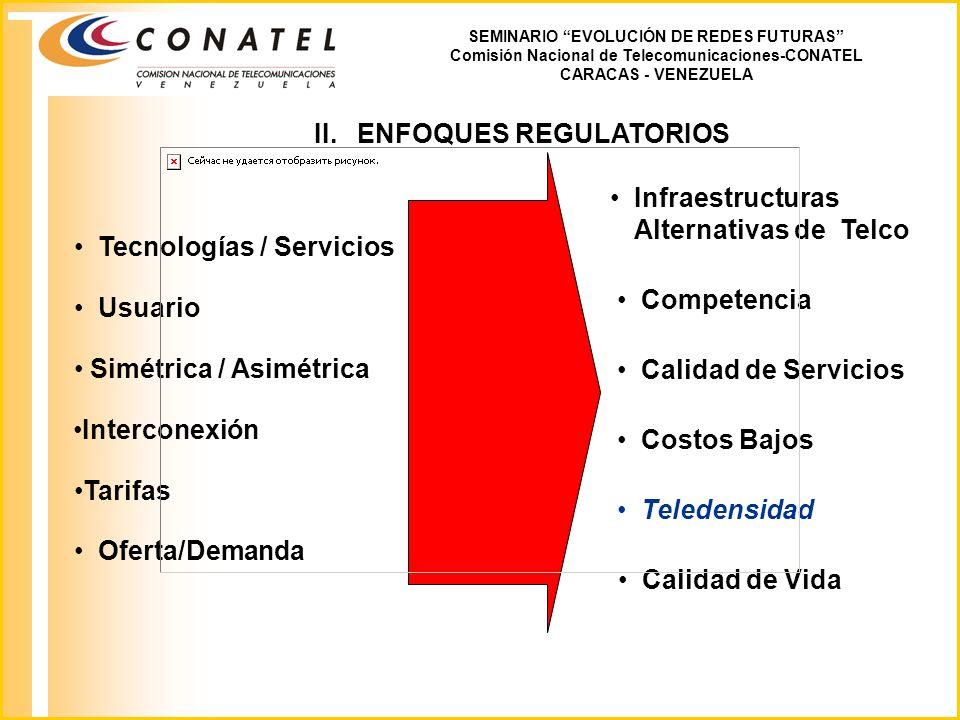 III.Escenarios /Tecnologías SEMINARIO EVOLUCIÓN DE REDES FUTURAS Comisión Nacional de Telecomunicaciones-CONATEL CARACAS - VENEZUELA IP/MPLS IP/SDH IP/ATM IP/HFC IMT2000 WLL LMDS WWW, XMTL, WAP, IN, Hosting...