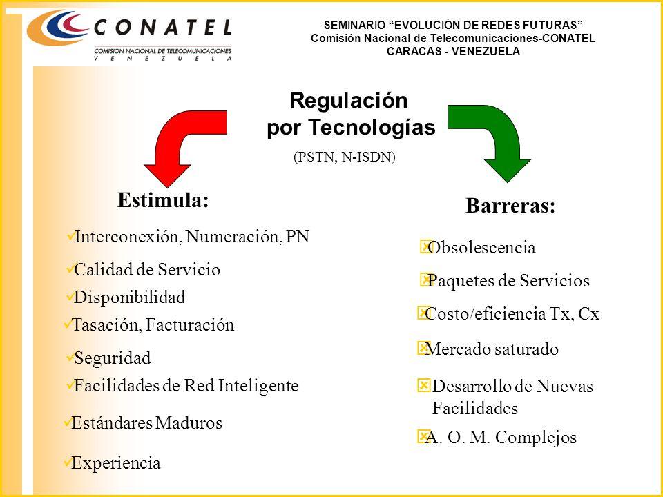 SEMINARIO EVOLUCIÓN DE REDES FUTURAS Comisión Nacional de Telecomunicaciones-CONATEL CARACAS - VENEZUELA Regulación por Tecnologías Estimula: üInterconexión, Numeración, PN üCalidad de Servicio üDisponibilidad üTasación, Facturación üSeguridad üFacilidades de Red Inteligente (PSTN, N-ISDN) Barreras: ýObsolescencia üEstándares Maduros ýPaquetes de Servicios ýCosto/eficiencia Tx, Cx üExperiencia ýMercado saturado ýDesarrollo de Nuevas Facilidades ýA.