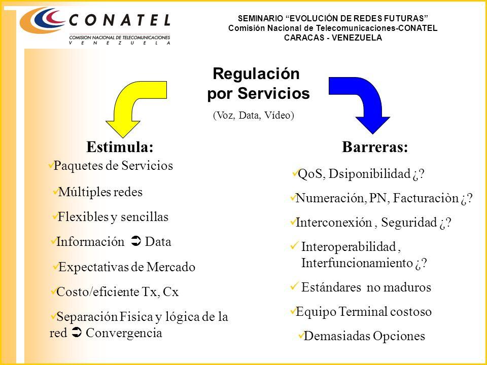 SEMINARIO EVOLUCIÓN DE REDES FUTURAS Comisión Nacional de Telecomunicaciones-CONATEL CARACAS - VENEZUELA Regulación por Servicios Estimula: Paquetes de Servicios Múltiples redes Flexibles y sencillas Información Data Expectativas de Mercado (Voz, Data, Vídeo) Barreras: Demasiadas Opciones Costo/eficiente Tx, Cx QoS, Dsiponibilidad ¿.