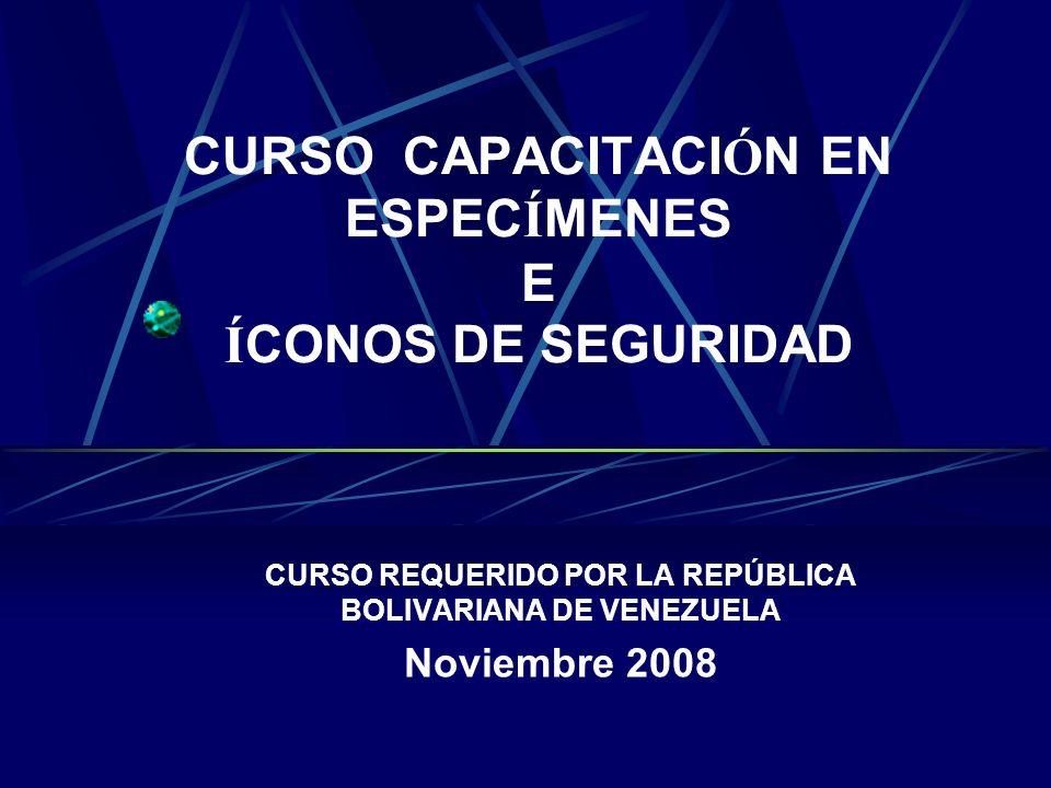 CURSO CAPACITACI Ó N EN ESPEC Í MENES E Í CONOS DE SEGURIDAD CURSO REQUERIDO POR LA REPÚBLICA BOLIVARIANA DE VENEZUELA Noviembre 2008