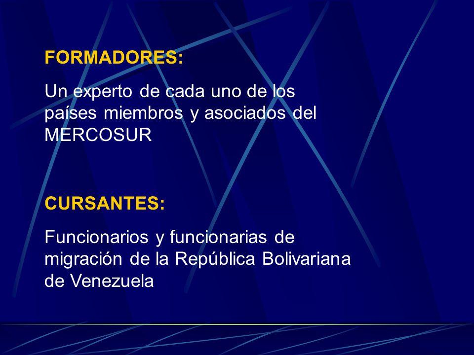 FORMADORES: Un experto de cada uno de los países miembros y asociados del MERCOSUR CURSANTES: Funcionarios y funcionarias de migración de la República Bolivariana de Venezuela