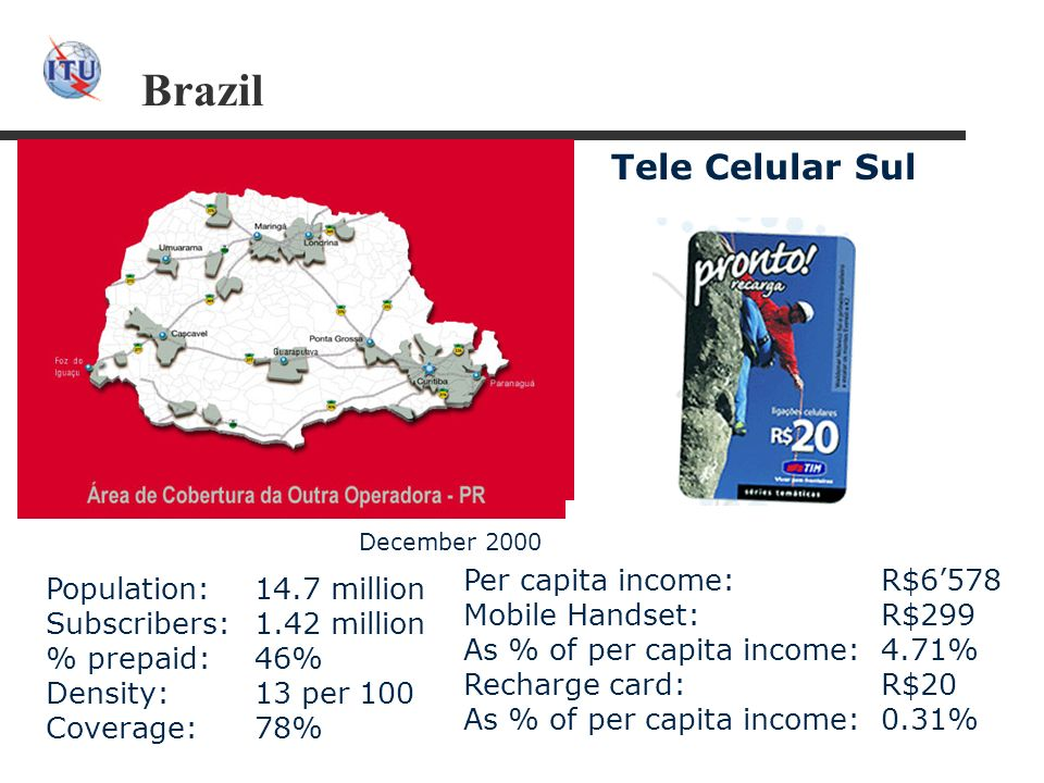 Brazil Per capita income: R$6578 Mobile Handset: R$299 As % of per capita income: 4.71% Recharge card: R$20 As % of per capita income: 0.31% Tele Celular Sul Population:14.7 million Subscribers:1.42 million % prepaid:46% Density:13 per 100 Coverage:78% December 2000