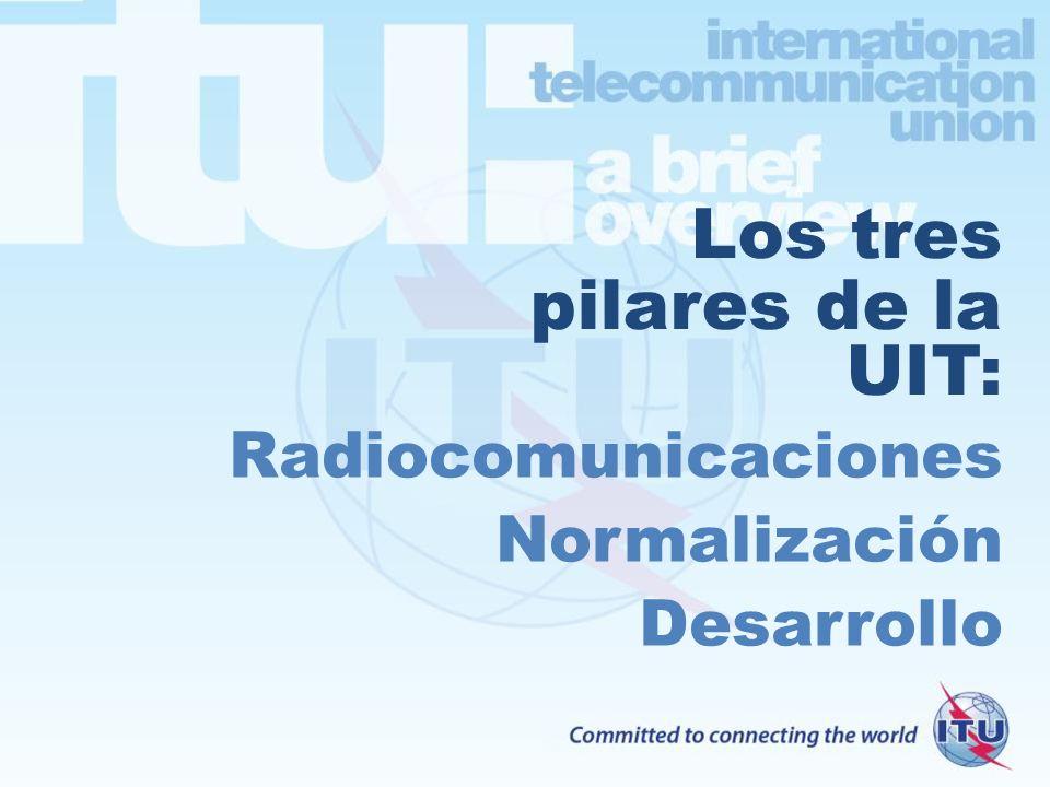 Los tres pilares de la UIT: Radiocomunicaciones Normalización Desarrollo