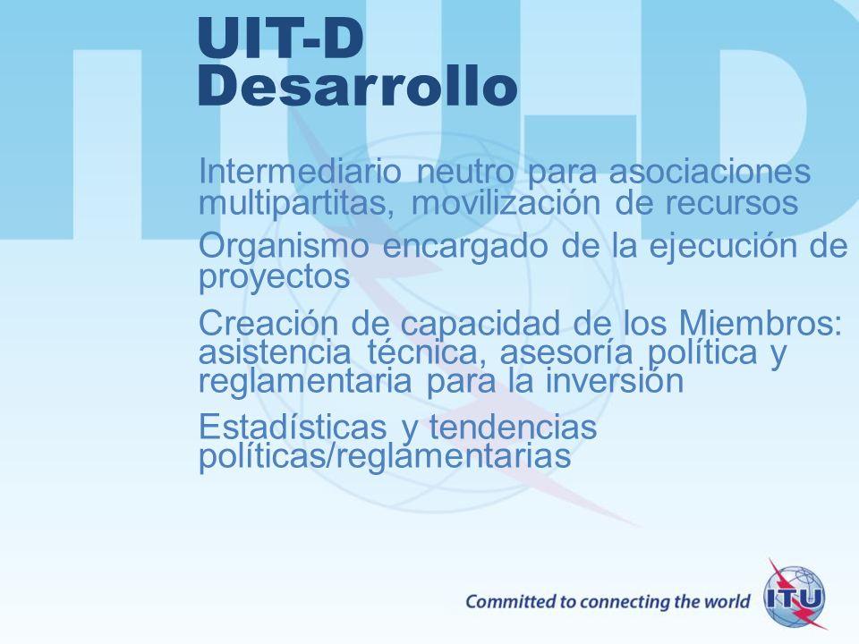 UIT-D Desarrollo Intermediario neutro para asociaciones multipartitas, movilización de recursos Organismo encargado de la ejecución de proyectos Creac