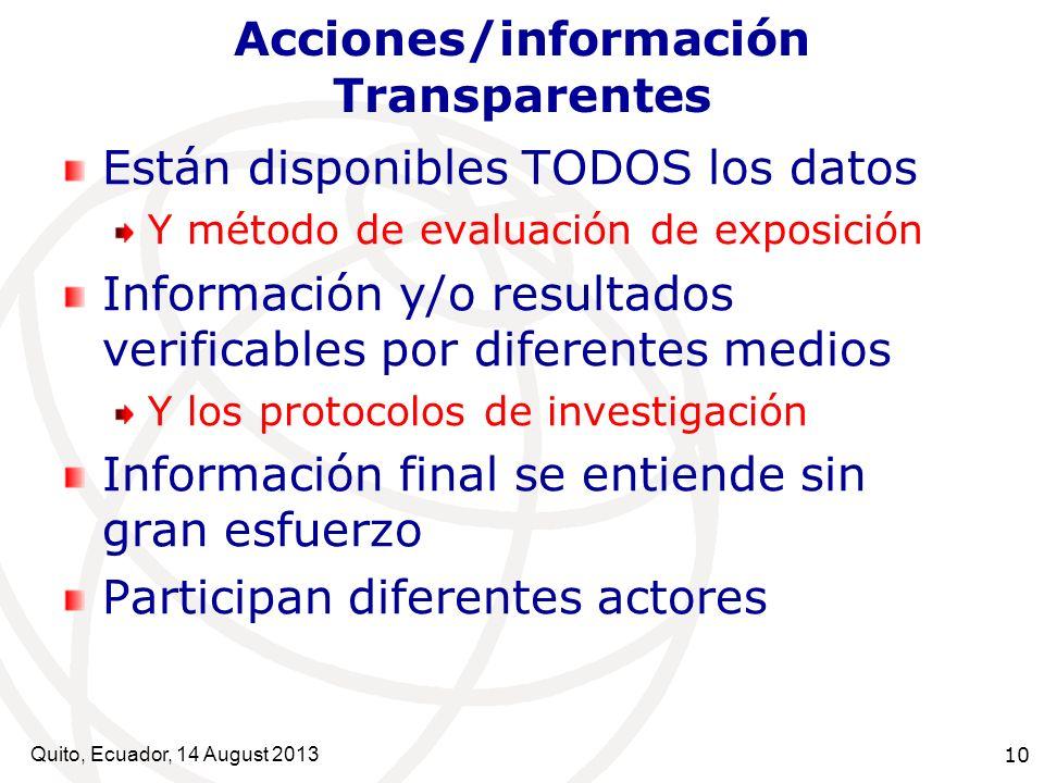 Quito, Ecuador, 14 August 2013 10 Acciones/información Transparentes Están disponibles TODOS los datos Y método de evaluación de exposición Informació