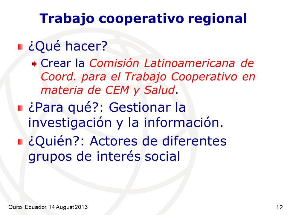 Quito, Ecuador, 14 August 2013 12 Trabajo cooperativo regional ¿Qué hacer? Crear la Comisión Latinoamericana de Coord. para el Trabajo Cooperativo en