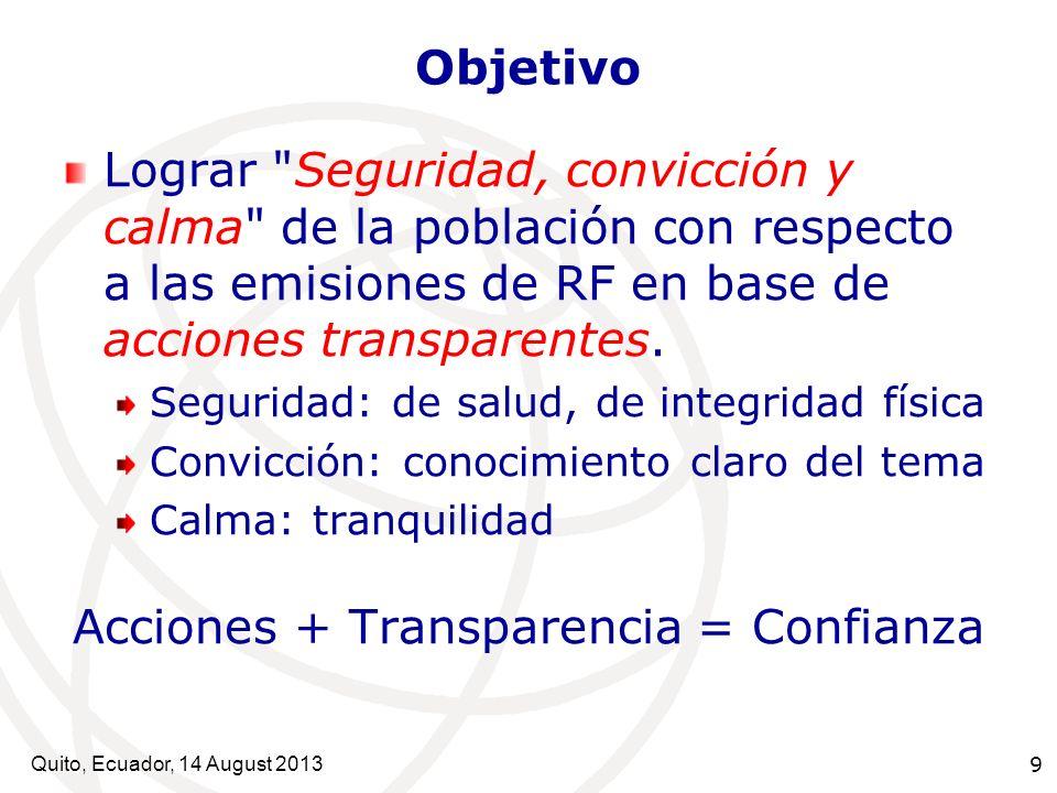 Quito, Ecuador, 14 August 2013 10 Acciones/información Transparentes Están disponibles TODOS los datos Y método de evaluación de exposición Información y/o resultados verificables por diferentes medios Y los protocolos de investigación Información final se entiende sin gran esfuerzo Participan diferentes actores