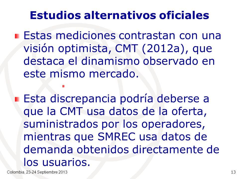 Estudios alternativos oficiales Estas mediciones contrastan con una visión optimista, CMT (2012a), que destaca el dinamismo observado en este mismo mercado.