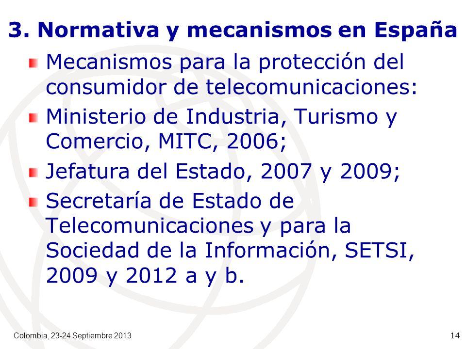 3. Normativa y mecanismos en España Mecanismos para la protección del consumidor de telecomunicaciones: Ministerio de Industria, Turismo y Comercio, M