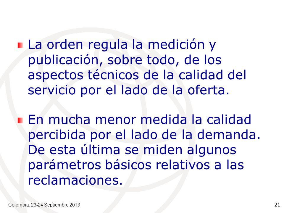 La orden regula la medición y publicación, sobre todo, de los aspectos técnicos de la calidad del servicio por el lado de la oferta.