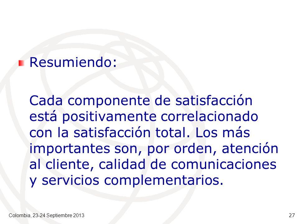Resumiendo: Cada componente de satisfacción está positivamente correlacionado con la satisfacción total.