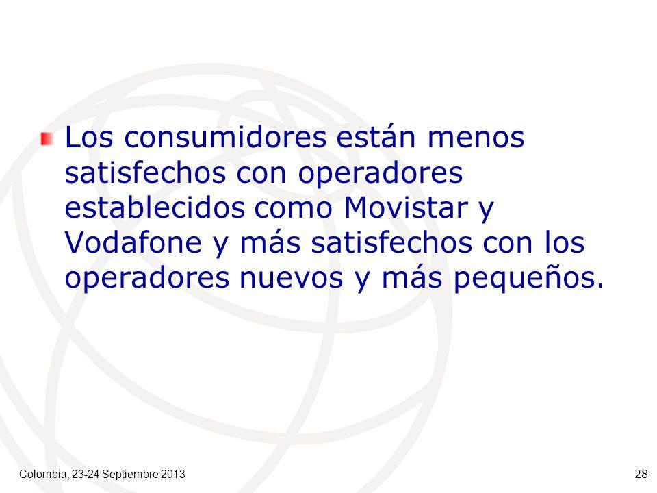Los consumidores están menos satisfechos con operadores establecidos como Movistar y Vodafone y más satisfechos con los operadores nuevos y más pequeños.