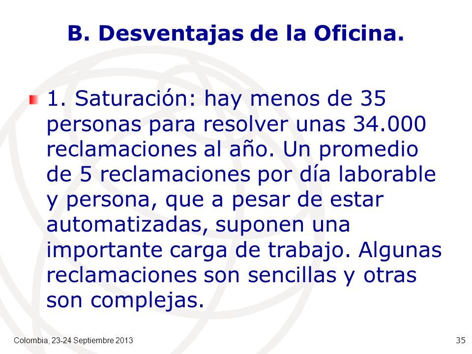 B. Desventajas de la Oficina. 1.