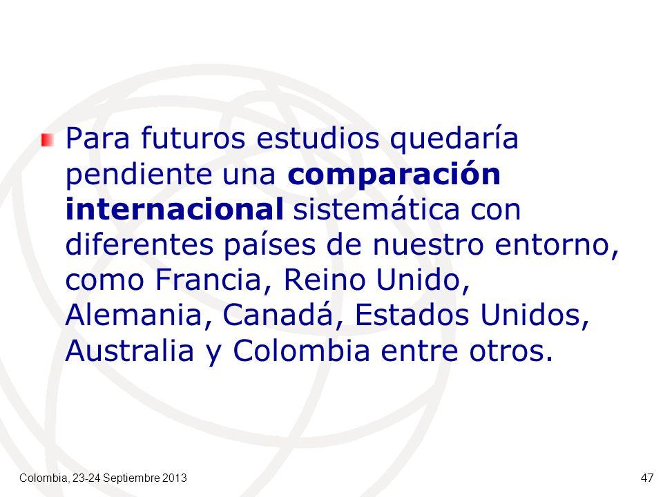 Para futuros estudios quedaría pendiente una comparación internacional sistemática con diferentes países de nuestro entorno, como Francia, Reino Unido, Alemania, Canadá, Estados Unidos, Australia y Colombia entre otros.