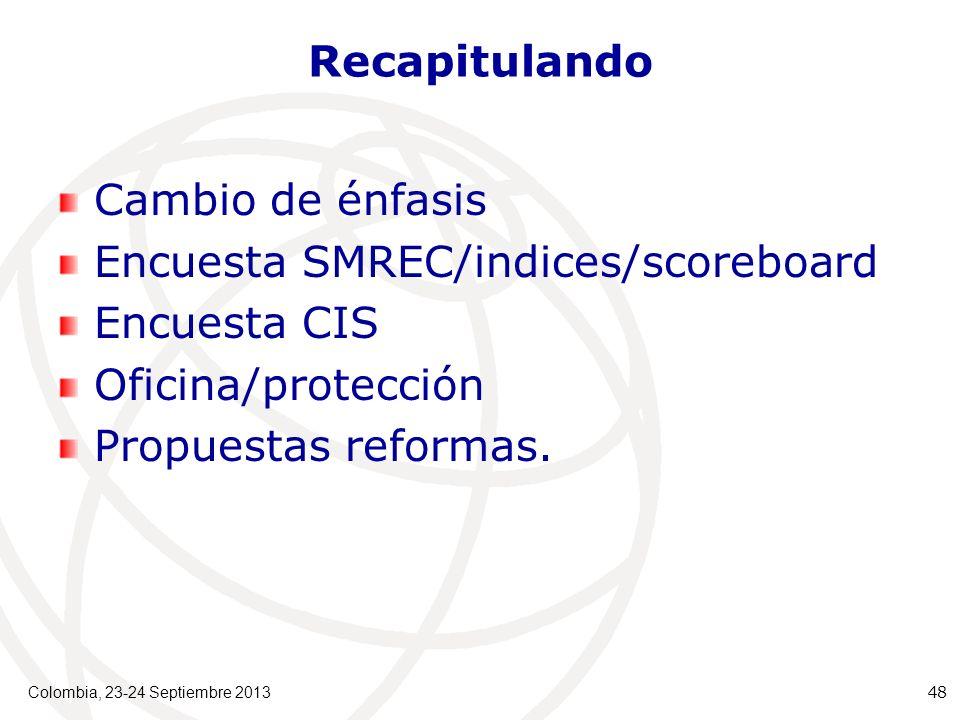 Recapitulando Cambio de énfasis Encuesta SMREC/indices/scoreboard Encuesta CIS Oficina/protección Propuestas reformas.